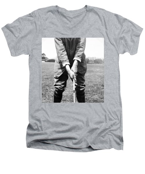 Men's V-Neck T-Shirt featuring the photograph Harry Vardon Displays His Overlap Grip by International  Images