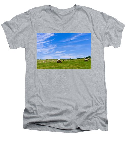 Hay Bales Under Brilliant Blue Sky Men's V-Neck T-Shirt