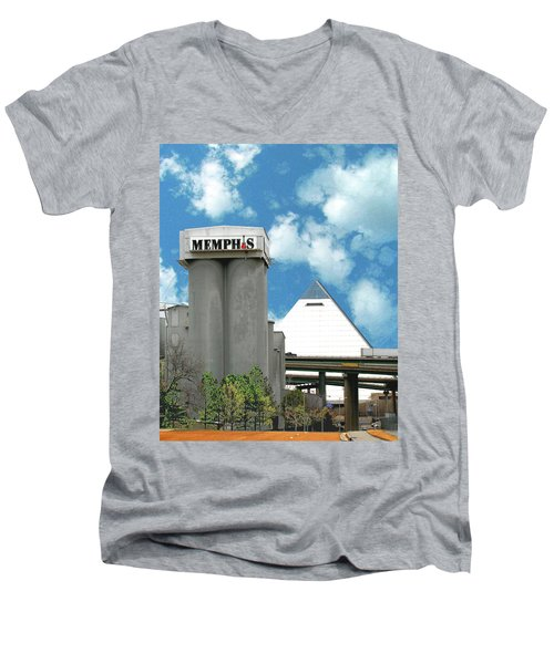 Men's V-Neck T-Shirt featuring the photograph Hello Memphis by Lizi Beard-Ward