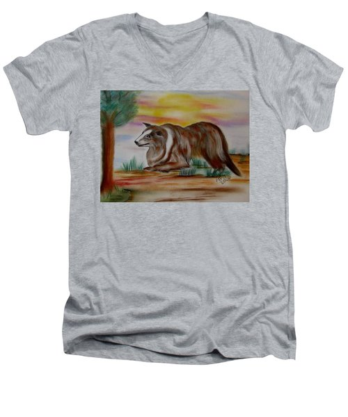 Men's V-Neck T-Shirt featuring the drawing Herding Collie by Maria Urso