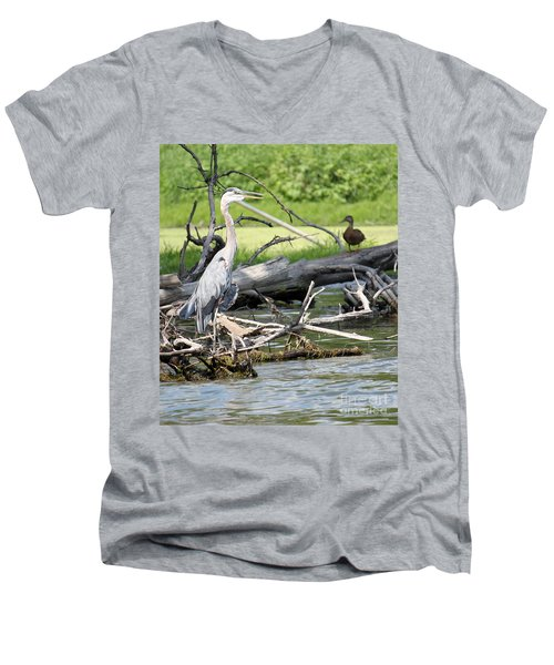 Men's V-Neck T-Shirt featuring the photograph Heron And Mallard by Debbie Hart