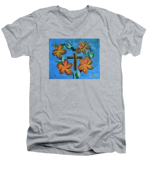 Men's V-Neck T-Shirt featuring the painting His Love For Us by Donna Brown