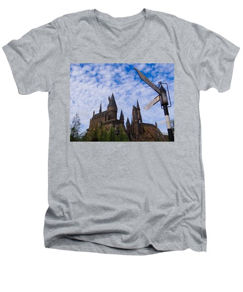 Men's V-Neck T-Shirt featuring the photograph Hogwarts Castle by Julia Wilcox