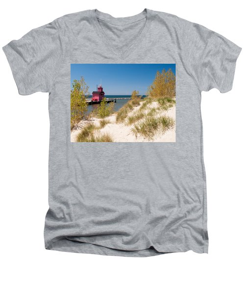 Men's V-Neck T-Shirt featuring the photograph Holland Mi Lighthouse by Larry Carr