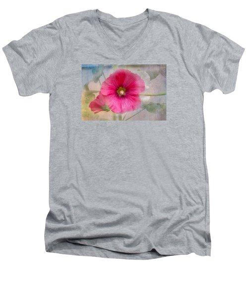 Hollyhock Men's V-Neck T-Shirt by Lena Auxier