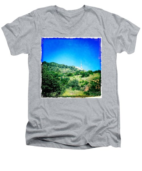 Men's V-Neck T-Shirt featuring the photograph Hollywood by Nina Prommer