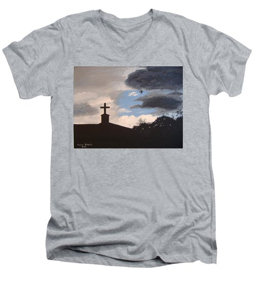 Men's V-Neck T-Shirt featuring the painting Hope In The Storm by Norm Starks