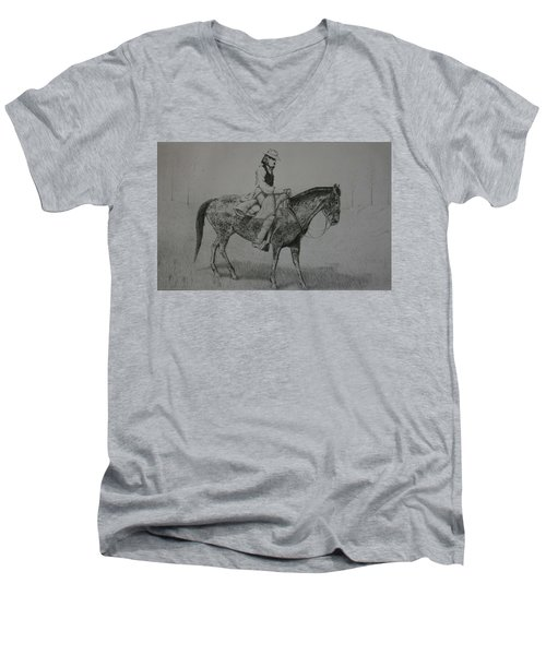 Men's V-Neck T-Shirt featuring the drawing Horseman by Stacy C Bottoms