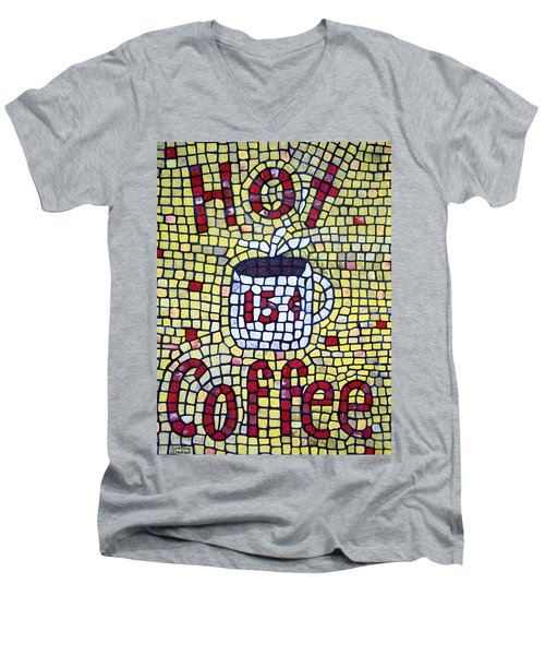 Men's V-Neck T-Shirt featuring the painting Hot Coffee by Cynthia Amaral