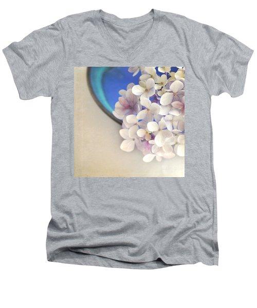 Hydrangeas In Blue Bowl Men's V-Neck T-Shirt by Lyn Randle