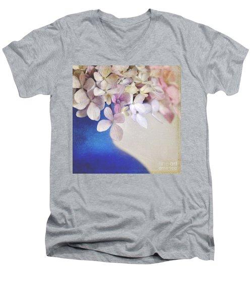 Hydrangeas In Deep Blue Vase Men's V-Neck T-Shirt