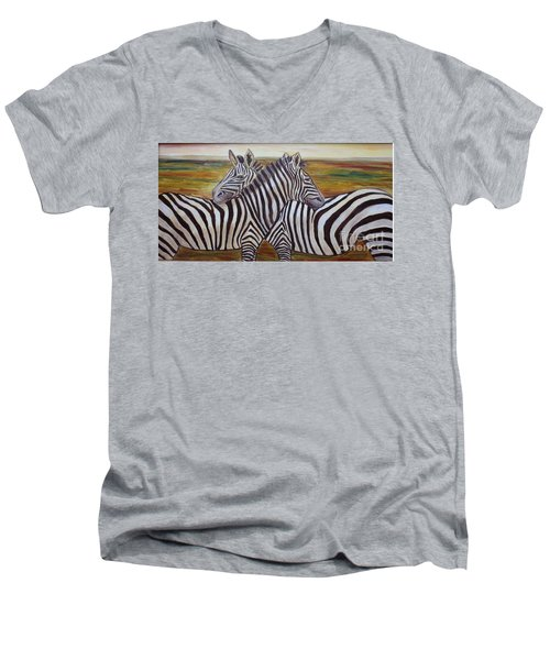 Men's V-Neck T-Shirt featuring the painting I Think Its This Way by Julie Brugh Riffey
