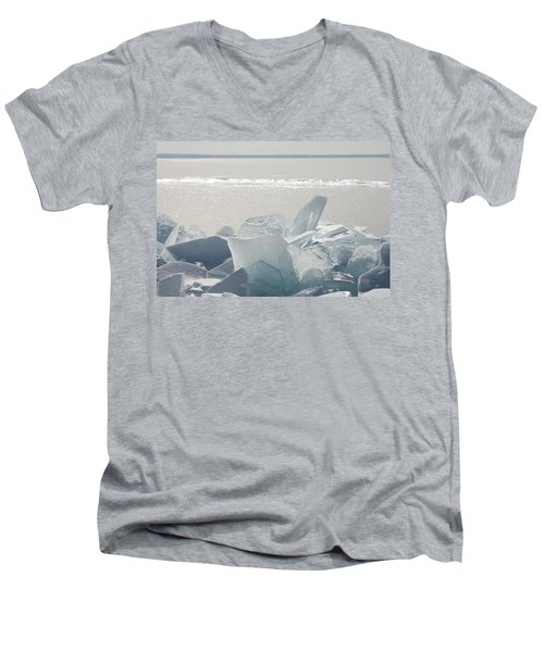Men's V-Neck T-Shirt featuring the photograph Ice Chunks On The Shores Of Lake by Susan Dykstra
