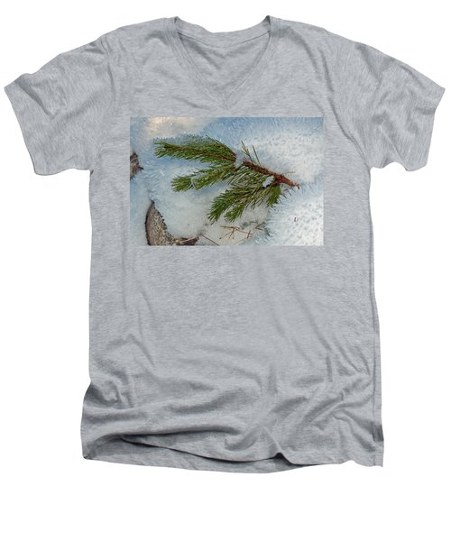 Ice Crystals And Pine Needles Men's V-Neck T-Shirt by Tikvah's Hope