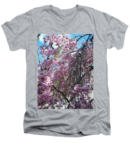 Men's V-Neck T-Shirt featuring the painting In Bloom by Cynthia Amaral