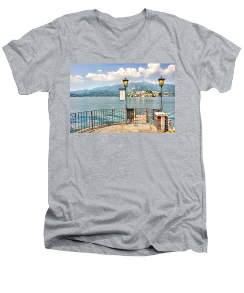 Island San Giulio On Lake Orta Men's V-Neck T-Shirt