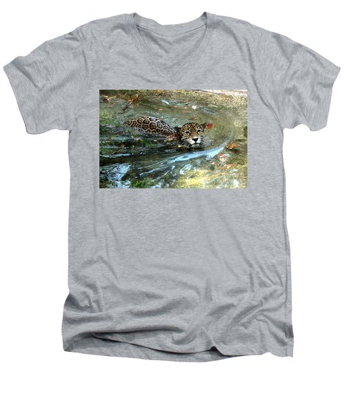 Men's V-Neck T-Shirt featuring the photograph Jaguar In For A Swim by Kathy  White