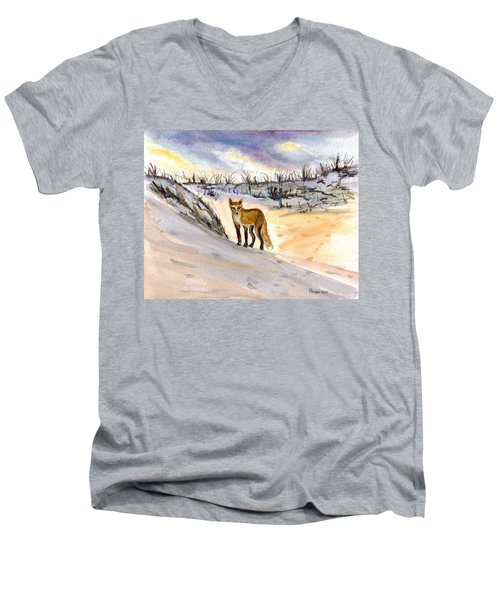Men's V-Neck T-Shirt featuring the painting Jersey Shore Fox by Clara Sue Beym