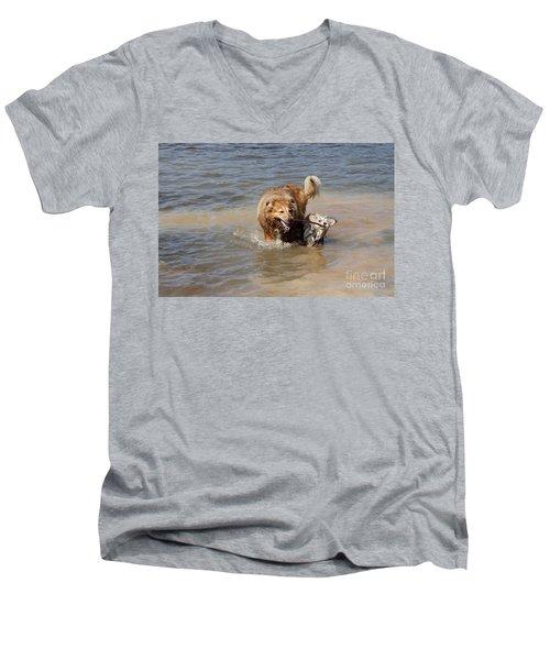 Jesse And Gremlin Sharing Men's V-Neck T-Shirt by Jeannette Hunt