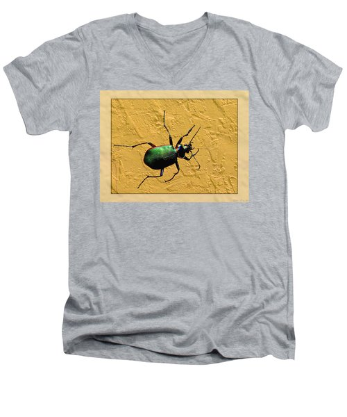 Men's V-Neck T-Shirt featuring the photograph Jeweltone Beetle by Debbie Portwood