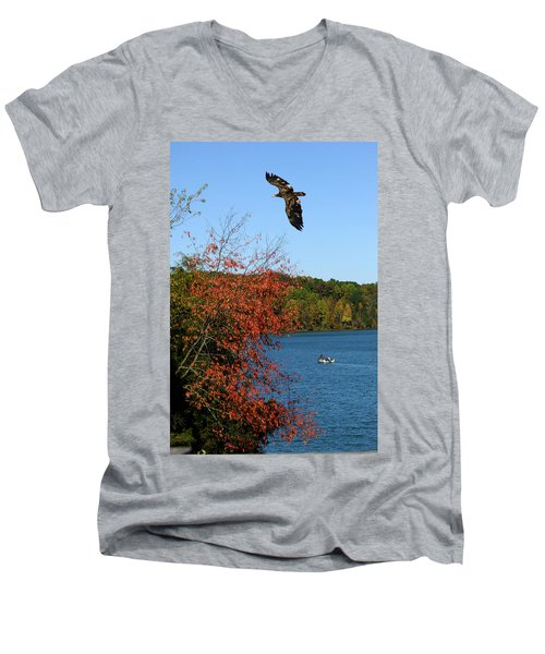 Men's V-Neck T-Shirt featuring the photograph Juvenile And Fishermen by Randall Branham
