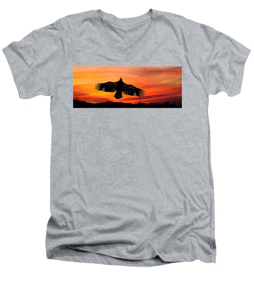 Men's V-Neck T-Shirt featuring the photograph Juvenile Sunset  by Randall Branham