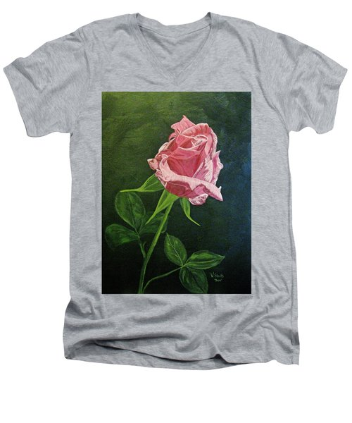 Men's V-Neck T-Shirt featuring the painting Kiss Of The Morning Sun 2 by Wendy Shoults