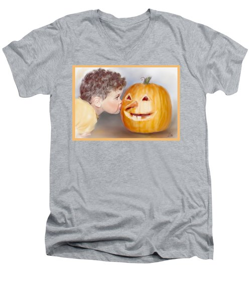 Men's V-Neck T-Shirt featuring the painting Kissy Face by Bonnie Willis