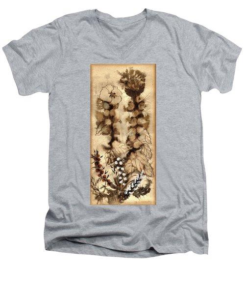 Kotsim Thorny Desert Plants In Brown Flowers Leaves Monochrome White   Men's V-Neck T-Shirt by Rachel Hershkovitz