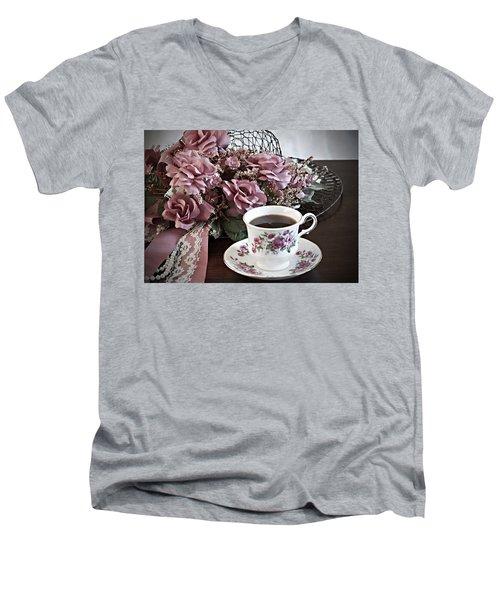 Ladies Tea Time Men's V-Neck T-Shirt by Sherry Hallemeier