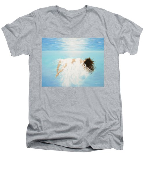 Men's V-Neck T-Shirt featuring the painting Lady Of The Water by Kume Bryant