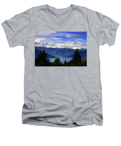 Lake Of Como View Men's V-Neck T-Shirt