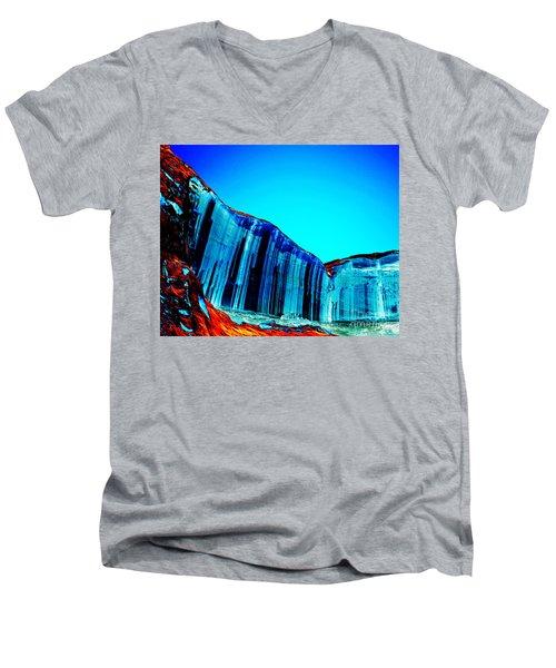 Lake Powell Blue Ice Men's V-Neck T-Shirt by Rebecca Margraf