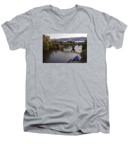 Last Light On Caveman Bridge Men's V-Neck T-Shirt by Mick Anderson
