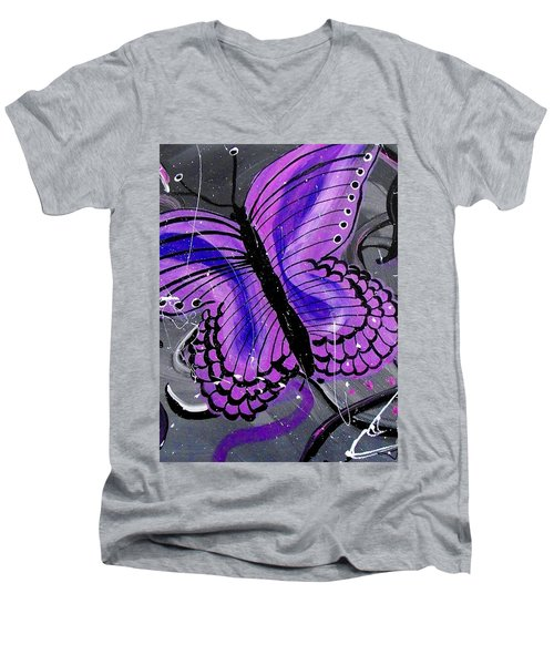 Lavendar Ripple Men's V-Neck T-Shirt