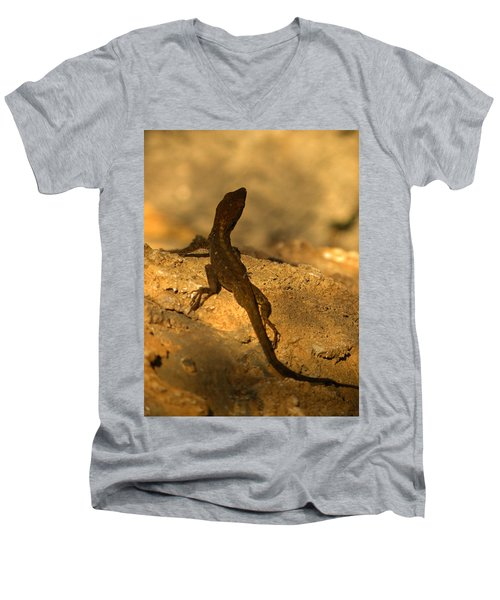 Leapin' Lizards Men's V-Neck T-Shirt by Trish Tritz