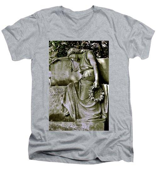 Left In Peace Men's V-Neck T-Shirt by Valerie Rosen