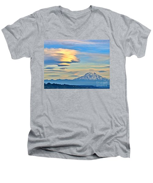 Men's V-Neck T-Shirt featuring the photograph Lenticular Cloud And Mount Rainier by Sean Griffin