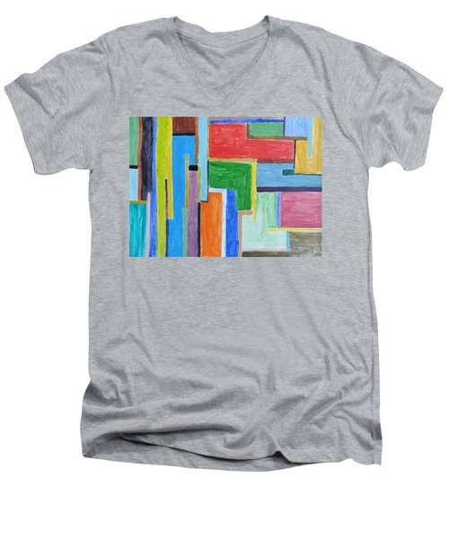 Men's V-Neck T-Shirt featuring the painting Life by Sonali Gangane
