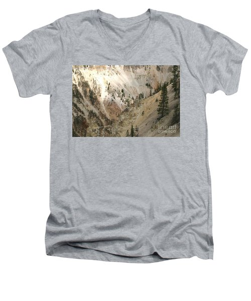 Men's V-Neck T-Shirt featuring the photograph Light And Shadows In The Grand Canyon In Yellowstone by Living Color Photography Lorraine Lynch