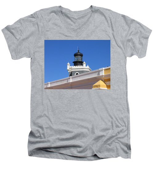 Lighthouse At Puerto Rico Castle Men's V-Neck T-Shirt by Suhas Tavkar