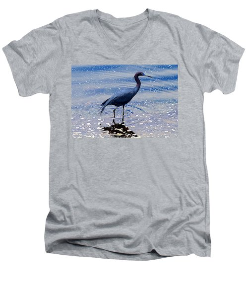 Men's V-Neck T-Shirt featuring the photograph Lit'l Blue by Elizabeth Winter
