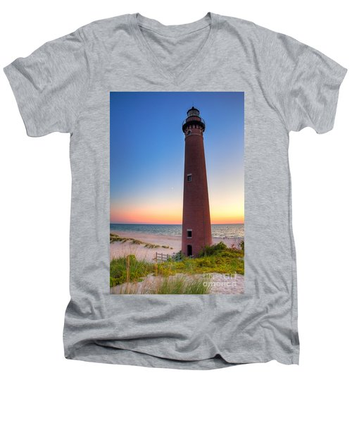 Men's V-Neck T-Shirt featuring the photograph Little Sable Point Light Station by Larry Carr