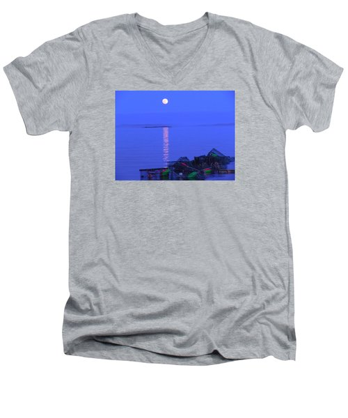 Men's V-Neck T-Shirt featuring the photograph Lobstering Moon by Francine Frank