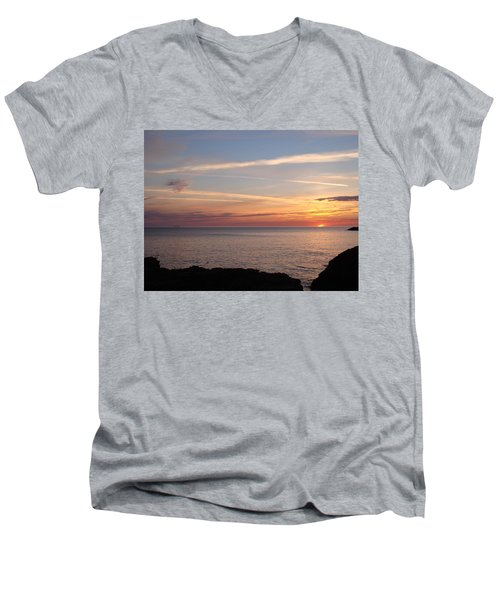 Men's V-Neck T-Shirt featuring the photograph Lone Freighter On Up by Bonfire Photography