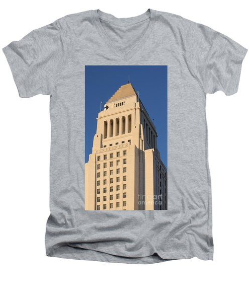 Los Angeles City Hall Men's V-Neck T-Shirt