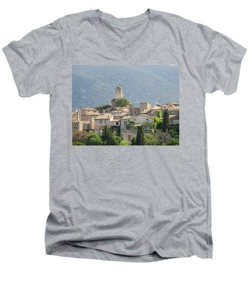 Men's V-Neck T-Shirt featuring the photograph Lourmarin In Provence by Carla Parris