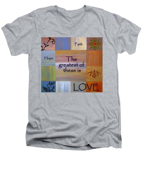 Men's V-Neck T-Shirt featuring the painting Love Is Everything by Cynthia Amaral