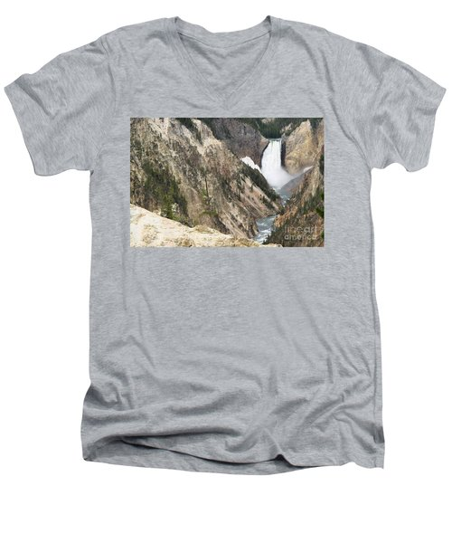 Men's V-Neck T-Shirt featuring the photograph Lower Falls Another View by Living Color Photography Lorraine Lynch