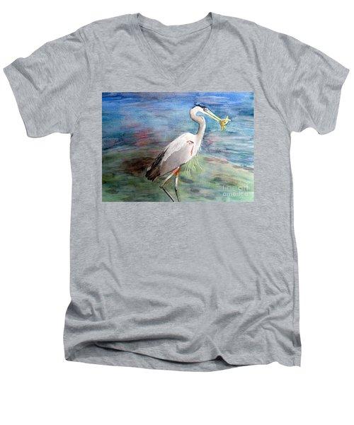 Lunchtime Watercolour Men's V-Neck T-Shirt by Laurel Best